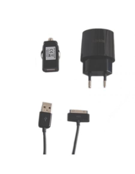3in1 Premium Combo - KFZ Lader + Netzteil + Datenkabel - Apple iPhone 4, 4S - 1000mA