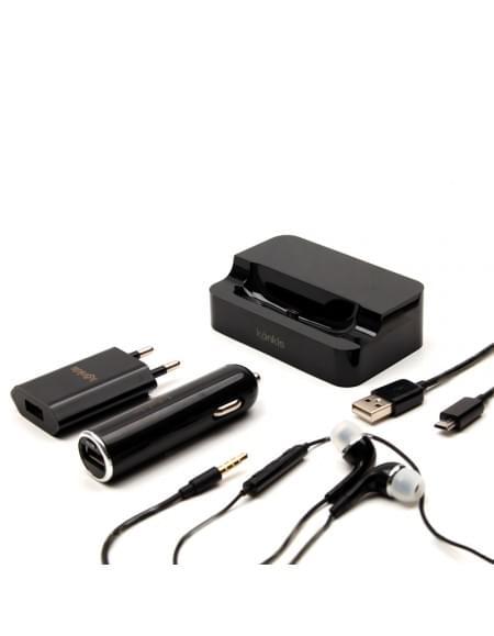 Vento Travel - 5in1 Combo - KFZ Lader + Netzteil + Datenkabel + Headset + Tischlader - Micro USB - Schwarz - 1000mAh