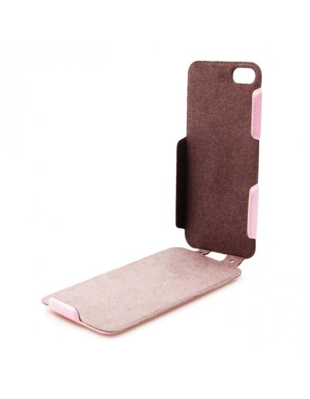 UreParts - Helm One - PU Flip Tasche / Hülle / Case - Apple iPhone 5se, 5s, 5 - Pink