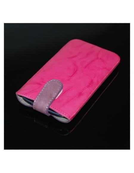 Kusi Colours - Leder Cover / Handytasche / Case mit Lasche - Größe M - 74x124mm - Pink/Lila