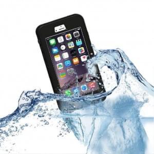 UreParts - Wasserfeste Schutzhülle / Cover / Case - Apple iPhone 6, 6s - Schwarz