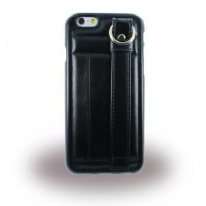 UreParts - TPU Cover / Case / Schutzhülle mit Leder - Apple iPhone 6, 6s - Schwarz