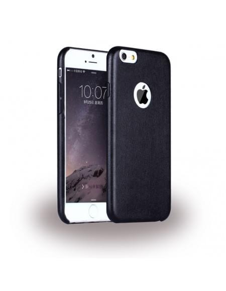 UreParts - Leder Hardcover / Hardcase / Handy Hülle - Apple iPhone 6 Plus, 6s Plus - Schwarz