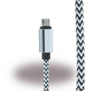 UreParts - Micro USB Ladekabel / Datenkabel - Micro-USB auf USB - Schwarz  /Weiss