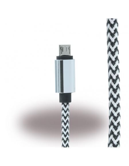 UreParts - Micro USB Ladekabel / Datenkabel - Micro-USB auf USB - Schwarz/Weiss
