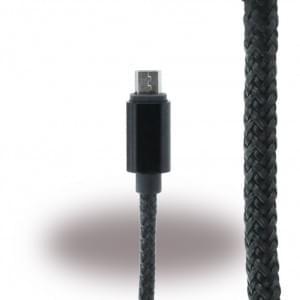 UreParts - Micro USB Ladekabel / Datenkabel - Micro-USB auf USB - Schwarz/ Schwarz