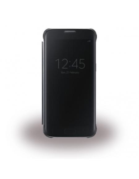 UreParts - Luxury Folio - Clear View - Book Cover / Handyhülle - Samsung G930F Galaxy S7 - Schwarz