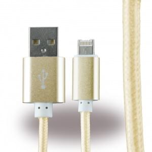 UreParts - 2 in 1 Kabel - USB Ladekabel / Datenkabel - Micro-USB + Apple Lightning auf USB - Gold