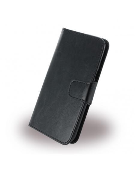 UreParts - Kunstleder Book Cover / Hülle / Handytasche - Motorola Moto G4, Moto G4 Plus - Schwarz