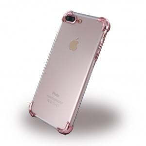 UreParts - Silver Corner Silikon Cover / Handyhülle - Apple iPhone 8 Plus / 7 Plus - Transparent Pink