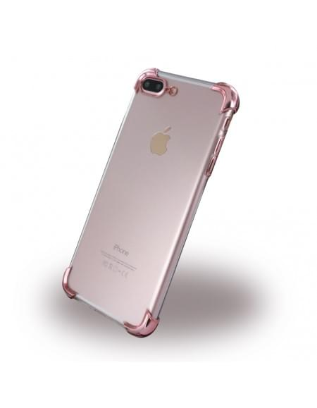 UreParts - Silver Corner Silikon Cover / Handyhülle - Apple iPhone 7 Plus - Transparent Pink
