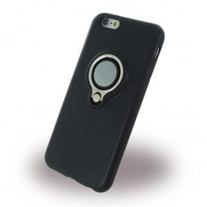 UreParts Ring Halter Silikon Case / Handyhülle für Apple iPhone 6, 6s - Schwarz