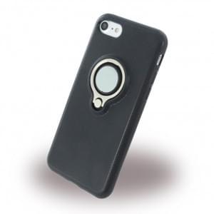 UreParts Ring Halter Silikon Case / Handyhülle für Apple iPhone 7 / 8 - Schwarz