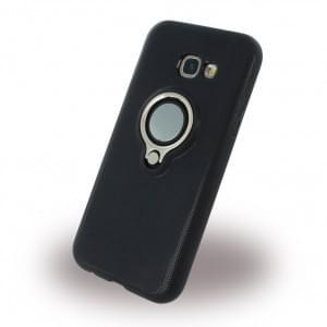 UreParts Ring Halter Silikon Case / Handyhülle für Samsung A520F Galaxy A5 (2017) - Schwarz