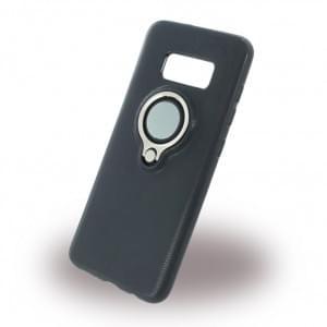 UreParts Ring Halter Silikon Case / Handyhülle für Samsung G955F Galaxy S8 Plus - Schwarz