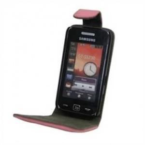 Flip-Style Kunstleder Tasche Vertikal mit Halterung für Samsung Star S5230 - Pink/ Grau