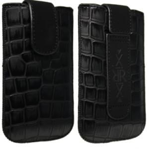 XiRRiX Vertikal Kunstleder Tasche - Lasche mit Rückzugfunktion 107 x 62 x 12 mm Croco - Schwarz