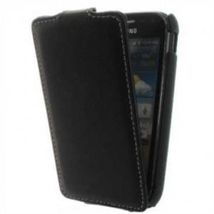 Flip-Style Kunstleder Tasche Vertikal m. Halterung für Samsung Galaxy Ace 2 i8160 - Schwarz