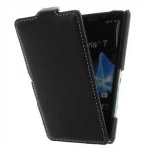 Flip-Style Kunstleder Tasche Vertikal mit Halterung für Sony Xperia T, Xperia T Dual - Schwarz