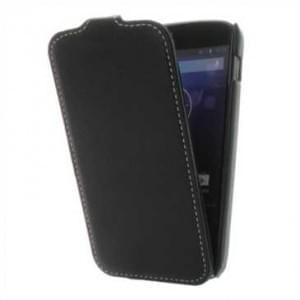 Flip-Style Kunstleder Tasche Vertikal mit Halterung für Google Nexus 4 / LG E960 - Schwarz