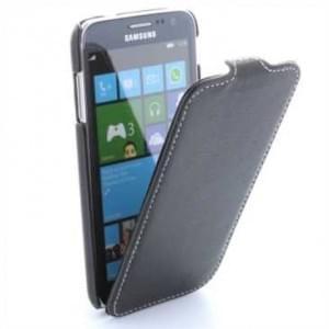 Flip-Style Kunstleder Tasche Vertikal m. Halterung für Samsung Ativ S i8750 - Schwarz