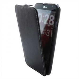 Flip-Style Kunstleder Tasche Vertikal m. Halterung für LG E985 Optimus G Pro - Schwarz