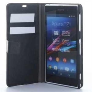 Wallet Style Kunstleder Tasche Vertikal mit Halterung für Sony Xperia Z1 - schwarz
