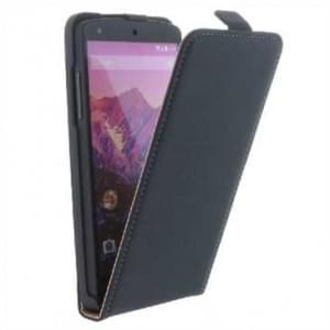 Flip-Style Kunstleder Tasche Vertikal mit Halterung für Google Nexus 5 / LG E980 - Schwarz