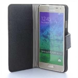 BookStyle Tasche Vertikal mit Halterung für Samsung Galaxy Alpha SM-G850F - Schwarz