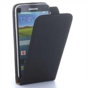 Flip-Style Kunstleder Tasche Vertikal m. Halterung für Samsung Galaxy S5, Galaxy S5 Neo - Schwarz