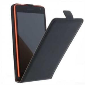 Flip-Style Kunstleder Tasche Vertikal m. Halterung für Microsoft Lumia 535, Lumia 535 Dual - Schwarz