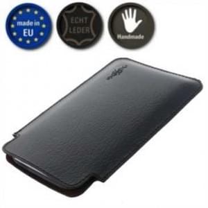 XiRRiX Echt Leder Smartphone Pouch Etui Tasche - Innenmaß: 148 x 76 x 12 mm (3XL) - Schwarz / Braun