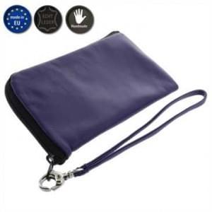 XiRRiX Echt Leder Smartphone Reißverschlusstasche - Innenmaß: 137,7 x 75 x 10 mm - (XL) - violett
