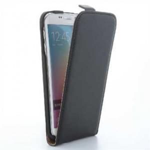 Flip-Style Kunstleder Tasche Vertikal m. Halterung für Samsung Galaxy S6 Edge - Schwarz