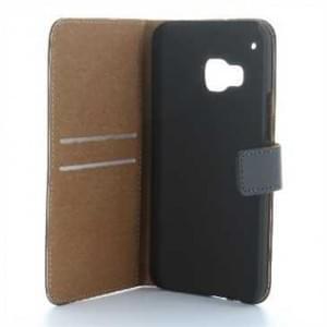 Book-Style Kunstleder Tasche Vertikal mit Halterung für HTC One M9 - Schwarz