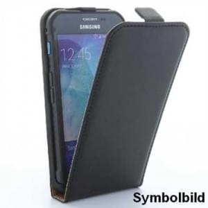 Flip-Style Kunstleder Tasche Vertikal m. Halterung für Samsung Galaxy Xcover 3 - Schwarz