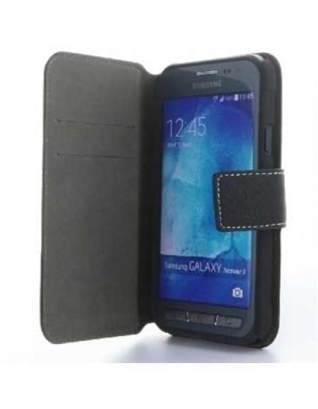 BookStyle Tasche Vertikal mit Halterung für Samsung Galaxy Xcover 3 - Schwarz