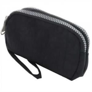 Horizontal Tasche mit 2 Reißverschlüssen und Handschlaufe - Größe: L - Schwarz