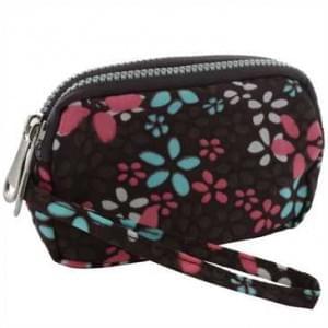 Horizontal Tasche mit 2 Reißverschlüssen und Handschlaufe - Größe: L - Flower Brown