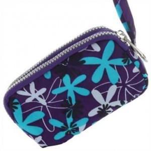 Horizontal Tasche mit 2 Reißverschlüssen und Handschlaufe - Größe: L - Flower Purple