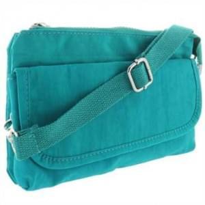 Handtasche m. Reißverschlussfach - Handschlaufe + Schultergurt - Außemaß: 215x130x40mm - Türkis