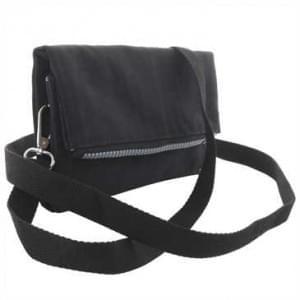 Handtasche mit Reißverschlussfach - mit Schultergurt + Handschlaufe - Außen: 190x120x10 cm - Schwarz