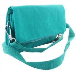 Handtasche mit Reißverschlussfach - mit Schultergurt + Handschlaufe - Außen: 190x120x10 cm - Türkis