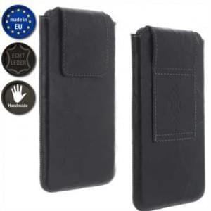 XiRRiX Echt Ledertasche Handy Vertikaltasche im Knitter Look - Innenmaß: 140 x 70,6 x 10,8 mm (2XL)