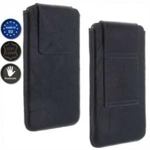 XiRRiX Echt Leder Handy Vertikaltasche im Knitter Look - Innenmaß: 149 x 73,8 x 10,8 mm (3XL)