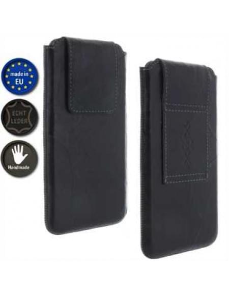 XiRRiX Echt Leder Handy Vertikaltasche im Knitter Look - Innenmaß: 159,5 x 78,4 x 10,5 mm (4XL)
