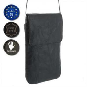 XiRRiX Echt Leder Handy Umhängetasche mit Fächer - Innenmaß: 160 x 83 mm (4XL) - Schwarz