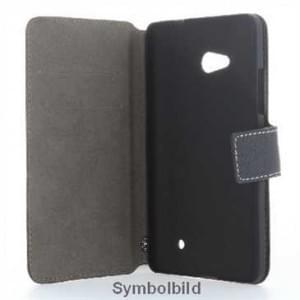 BookStyle Tasche Vertikal mit Halterung für Microsoft Lumia 550 - Schwarz
