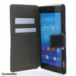 BookStyle Ledertasche PU Leder für Sony Xperia XA Vertikal mit Halterung  - Schwarz