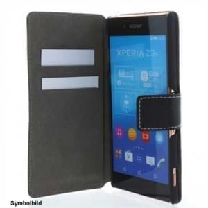 BookStyle Ledertasche PU Leder für Sony Xperia M5, Xperia M5 Dual Vertikal mit Halterung  - Schwarz